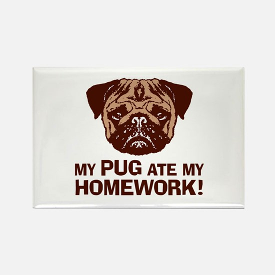 My Pug Ate My Homework Rectangle Magnet