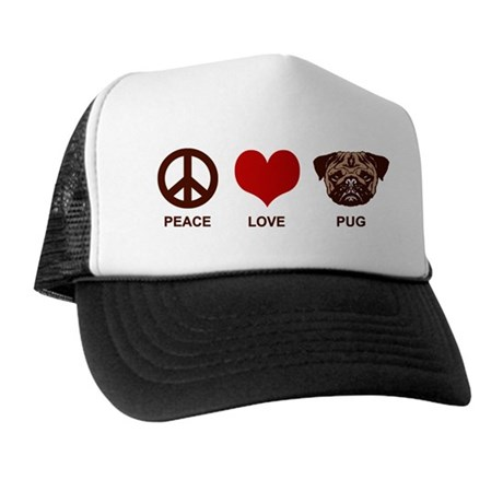 Peace Love Pug Trucker Hat