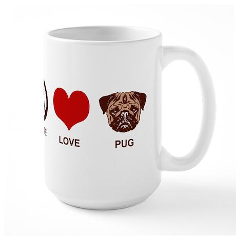 Peace Love Pug Large Mug