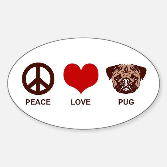 Peace Love Pug Sticker (Oval)