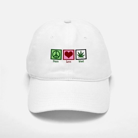 Peace Love Weed Baseball Baseball Cap