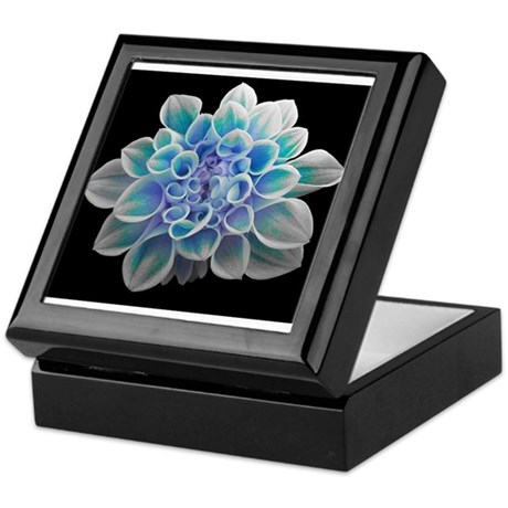 blue flower/ blue dahlia Keepsake Box