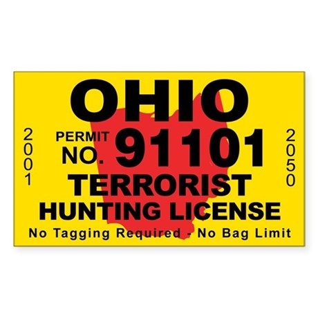 Ohio terrorist hunting license decal by cafestickers for Ohio out of state fishing license