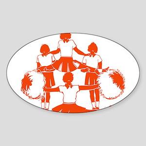 CHEER *1* {orange} Sticker (Oval)