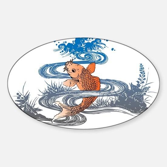 Koi Pond Sticker (Oval)
