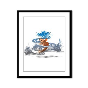 Koi Pond Framed Panel Print