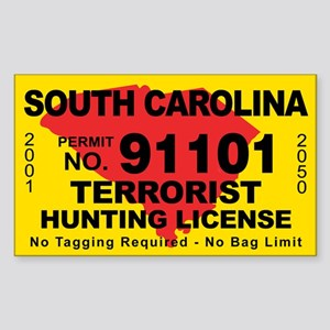 South Carolina Terrorist Hunting License Sticker