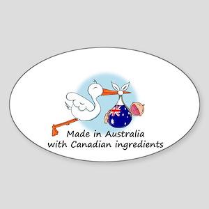 Stork Baby Australia Canada Sticker (Oval)