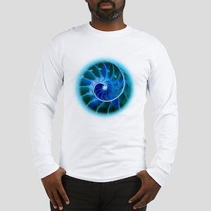 GoldenSpiralCyan2b Long Sleeve T-Shirt