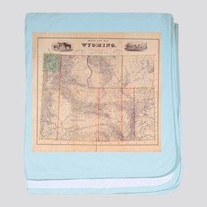Vintage Map of Wyoming (1883) baby blanket