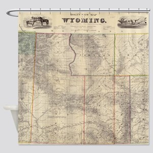 Vintage Map of Wyoming (1883) Shower Curtain