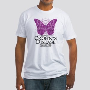 Crohn's Disease Butterfly Fitted T-Shirt