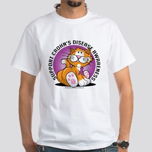 Crohn's Disease Cat White T-Shirt