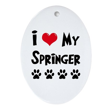 I Love My Springer Ornament (Oval)