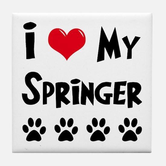 I Love My Springer Tile Coaster
