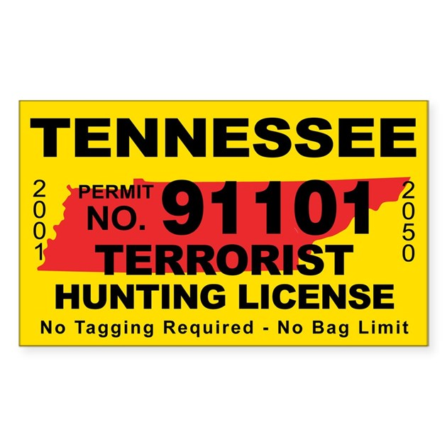 Tennessee terrorist hunting license decal by cafestickers for Tennessee fishing license price