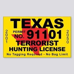 TexasTerrorist Hunting License Sticker
