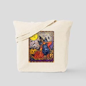 Witch Scottie Halloween Tote Bag