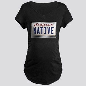 """NATIVE"" California License Plate Maternity Dark T"