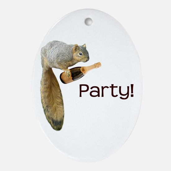Squirrel Party! Ornament (Oval)