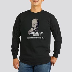 Socialism Sucks with Quote Long Sleeve Dark T-Shir