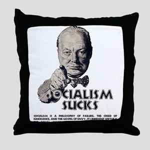 Socialism Sucks with Quote Throw Pillow