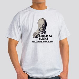 Socialism Sucks with Quote Light T-Shirt