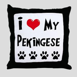 I Love My Pekingese Throw Pillow
