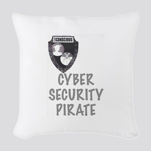 Cyber Security Pirate Woven Throw Pillow