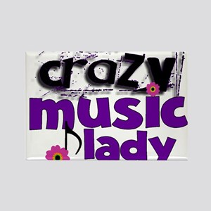 Crazy Music Lady Rectangle Magnet
