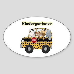 Zoo Animals Kindergarten Sticker (Oval)