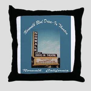 Norwalk Blvd Drive-In Theatre Throw Pillow