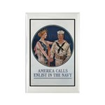 Enlist in the Navy Poster Art Rectangle Magnet (10