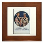 Enlist in the Navy Poster Art Framed Tile