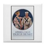 Enlist in the Navy Poster Art Tile Coaster