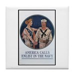 Enlist in the Navy Poster Art Tile Coaster
