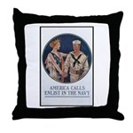Enlist in the Navy Poster Art Throw Pillow