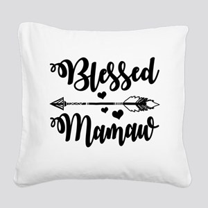 Blessed Mamaw Square Canvas Pillow