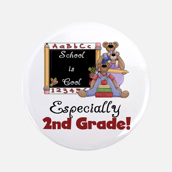 """2nd Grade School is Cool 3.5"""" Button"""