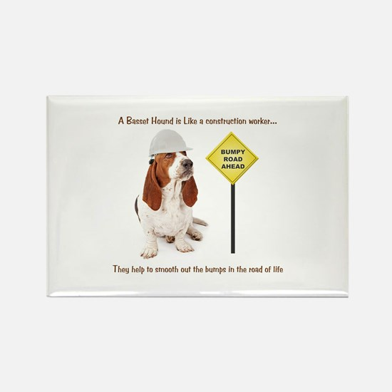 Basset Hound Construction Rectangle Magnet