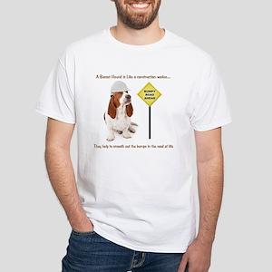 Basset Hound Construction White T-Shirt