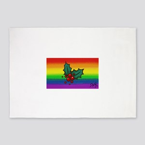 HOLLY gay rainbow art 5'x7'Area Rug