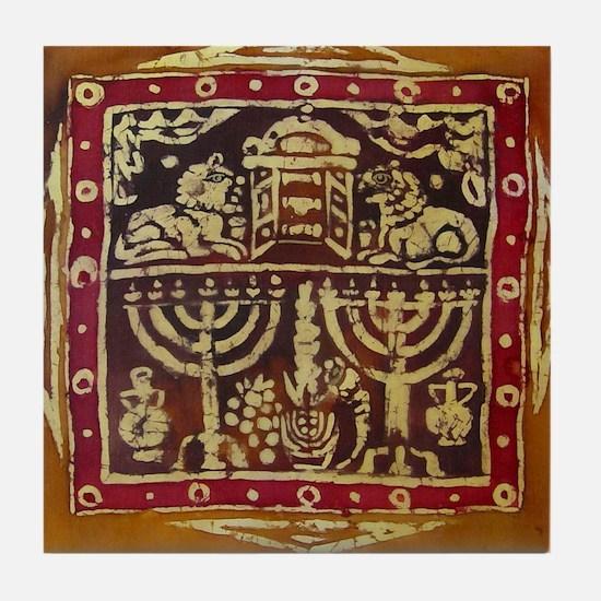 Old Jewish Symbols Tile Coaster