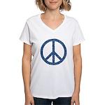 Blue Peace Sign Women's V-Neck T-Shirt
