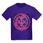 Pink Peace Symbols Kids Dark T-Shirt
