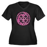 Pink Peace Symbols Women's Plus Size V-Neck Dark T