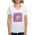 Pink Peace Symbols Women's V-Neck T-Shirt