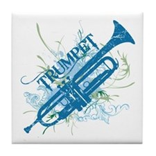 Cool Grunge Trumpet Tile Coaster