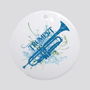 Cool Grunge Trumpet Ornament (Round)