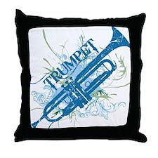 Cool Grunge Trumpet Throw Pillow